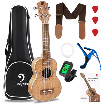 Ukulele Mahogany Vangoa 21 Inch Soprano Acoustic Mini Ukelele with Kit