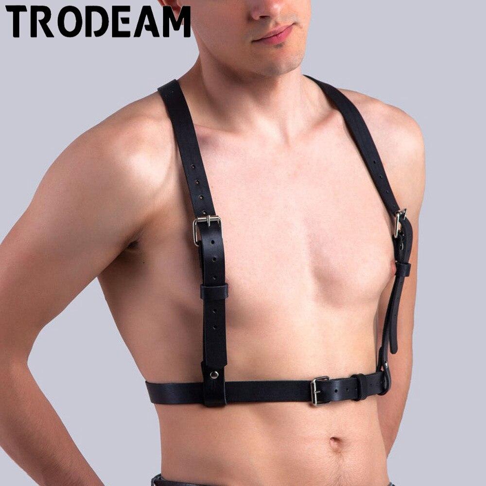 TRODEAM Men's Leather Bondage Faux Leather Harness Belts Straps Black Adjustable Body Suspenders Belts Bdsm Restraints Harness