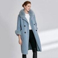 Haining fur lamb coat 2019 new grain velvet fox collar long section sheep shearing