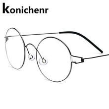 Screwless Eyewear Prescription Eyeglasses Frame Men Denmark Korean Round Myopia Optical Glasses Frame Women Titanium 98607 screwless eyewear prescription eyeglasses women ultralight 2018 round myopia optical denmark korean glasses frame men titanium