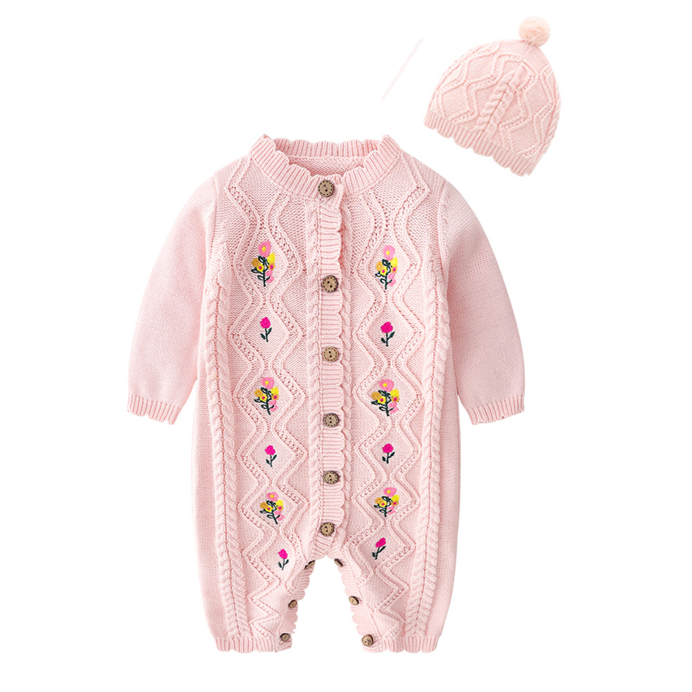2019 Spring New Spring And Autumn Outfit Coat Cute Baby Girls Long Sleeve Bodysuit Kids Girls Knitting Costumes For Girls KidsRompers   -