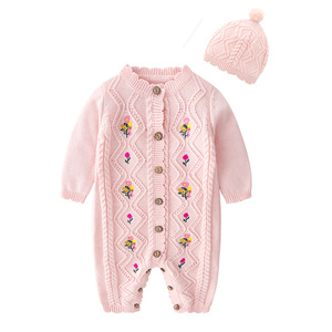 Image 1 - 2019 Spring New Spring And Autumn Outfit Coat Cute Baby Girls Long Sleeve Bodysuit Kids Girls Knitting Costumes For Girls Kids