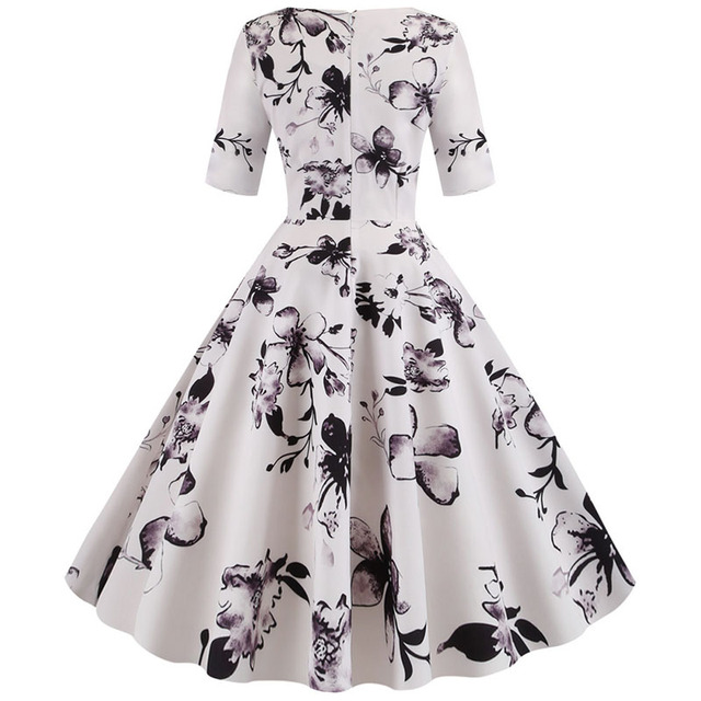 Women flower print Autumn dress Casual Winter half sleeve Elegant Vintage dress Robe femme plus size pinup office party vestidos 3