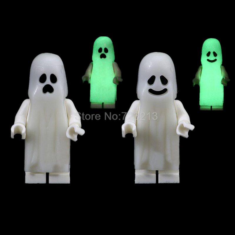 Single Halloween Ghost Series Luminous Figure Set Scream Gloom In The Dark Zombie Keychain Building Blocks Bricks Toys Legoing
