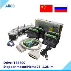 Image 1 - Набор из 4 осевого шагового двигателя nema 23 1.2N.m мотор + драйвер двигателя TB6600 + 5 осевая интерфейсная плата + блок питания, запчасти для фрезерного станка с ЧПУ