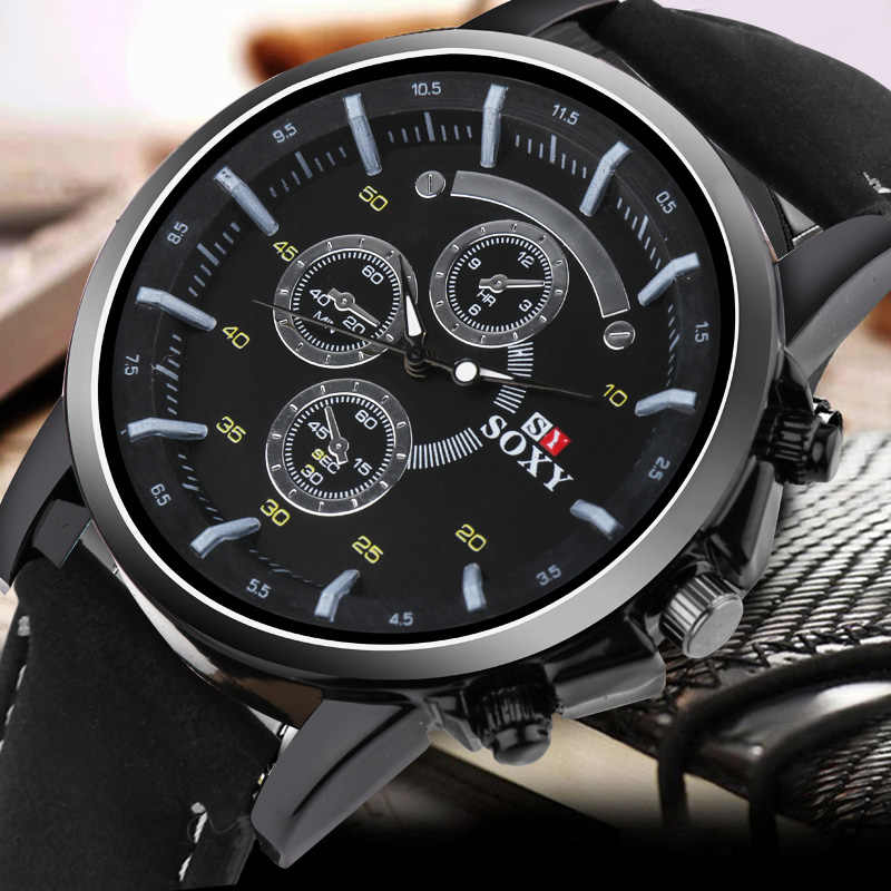 Luxe grand cadran militaire Sport montre hommes 2020 mode cuir montre pour hommes es Quartz horloge montre pour hommes relojes para hombre