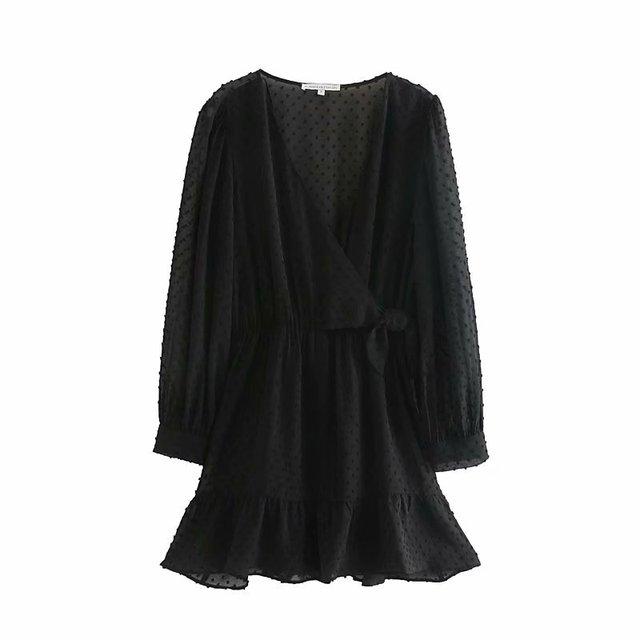 Femmes élégant à manches longues volants en mousseline de soie jupe-culotte mini robe dame croix col en v nœud papillon chic décontracté mince kimono robes DS3001