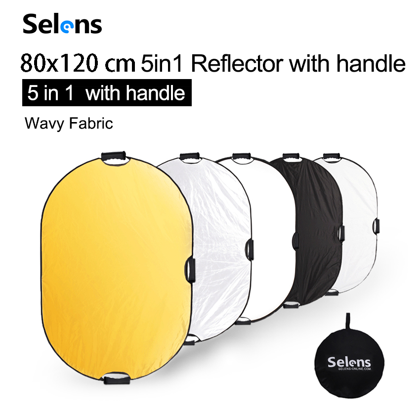 Selens 80x120cm 5 In 1 Reflector Photography Portable Light Reflector With Carring Case For Photography Photo Studio Accessories