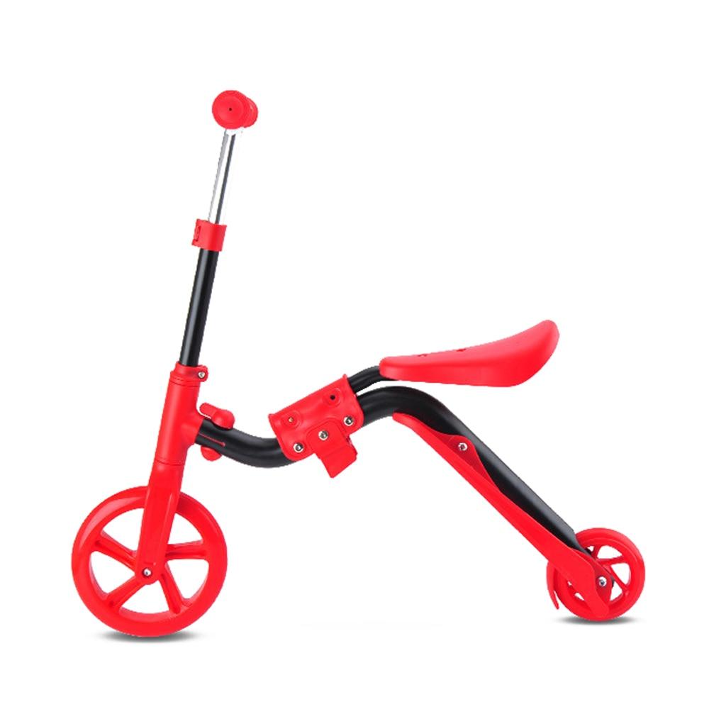 Scooter For Kids Children With Folding Seat 2-in-1 Adjustable Kick Scooter Skateboard Walker Balance Bike