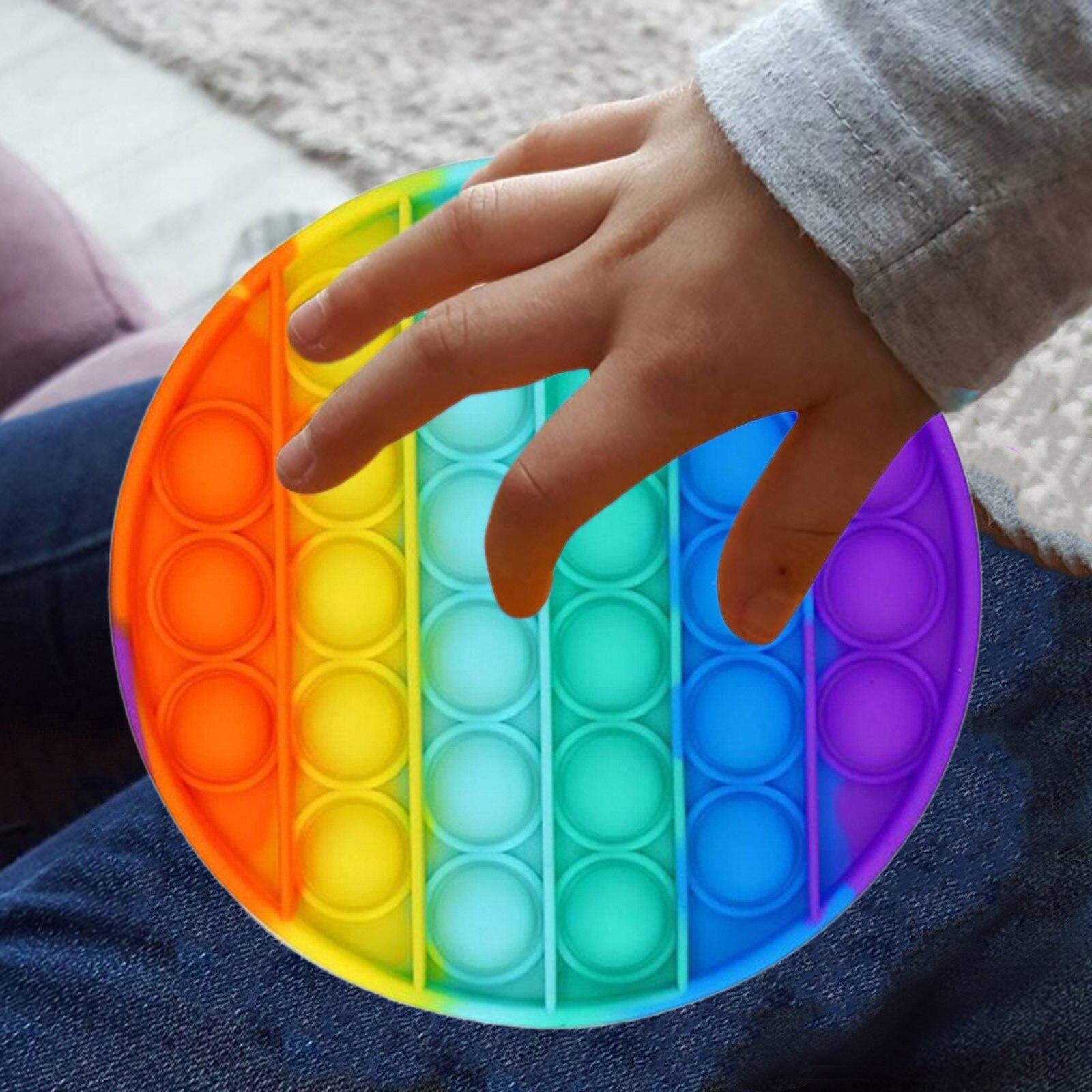 Fidget-Sensory-Toy Game-Stress Bubble Pops Squishy-Pops Special Needs Rainbow-Push Autisim img3