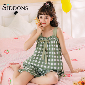Summer Cute High quality Women Nightgowns sling Lattice Home Wear Student Girls Sleep Lounge Nightgrowns Clothing