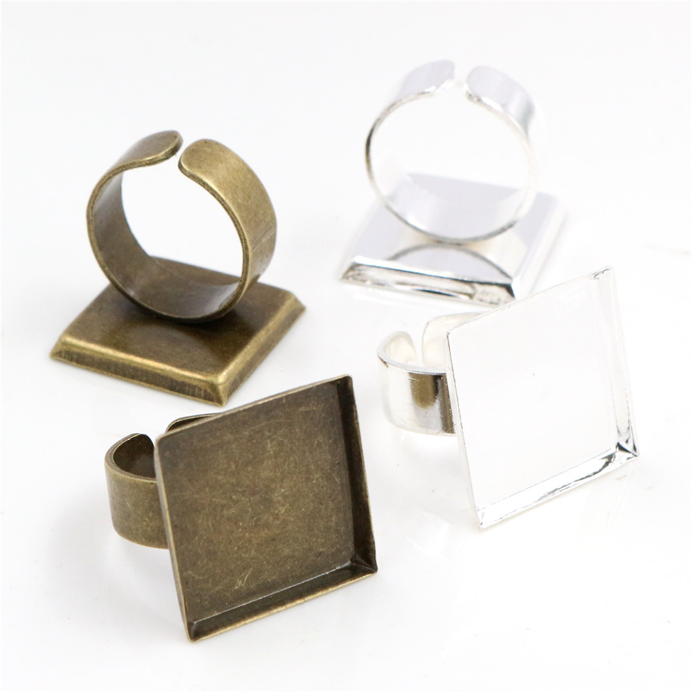 20mm 10pcs Silver Plated And Bronze Colors Plated Square Adjustable Ring Settings Blank/Base,Fit 20mm Glass Cabochons,Buttons