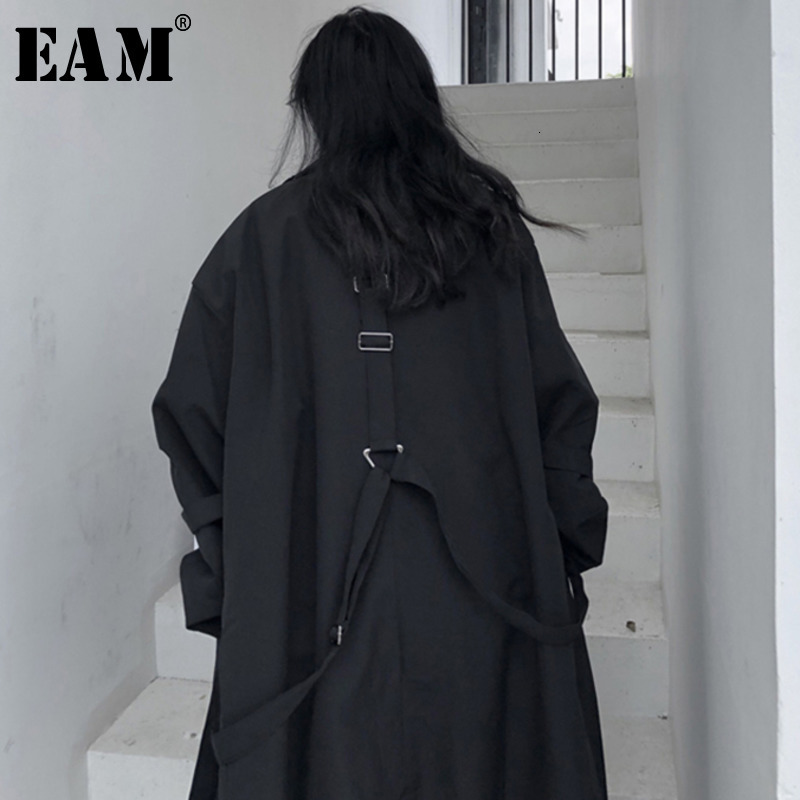 [EAM] Women Black Buckle Split Oversized Trench New Lapel Long Sleeve Loose Fit Windbreaker Fashion Spring Autumn 2020 1K826