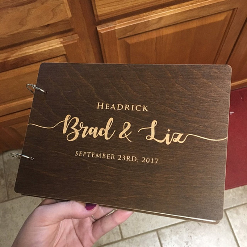 Personalized Wedding Guest Book, Custom Wedding Guestbook Album, Wooden Guest Book, Bridal Shower Custom Wedding Gifts