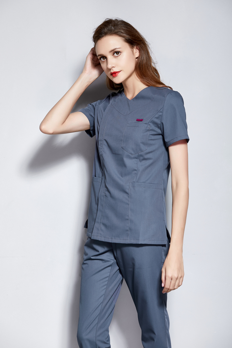 Women's 100% Cotton V Neck Design Side Opening Medical Scrub Set Nurse And Health Care Slim Fit Uniform Dental Clinic Clothes