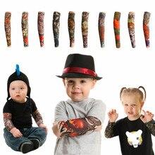 Новая модная детская Татуировка теплый рукав УФ Защита наружная Временная подделка рукав с татуировками теплый рукав для детей