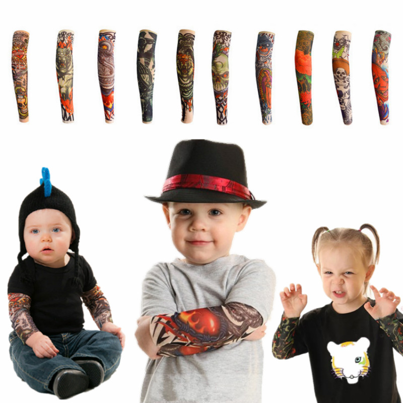 New Fashion Children Tattoo Sleeves Arm Warmer UV Protection Outdoor Temporary Fake Tattoo Arm Sleeve Warmer Sleeve For Kids