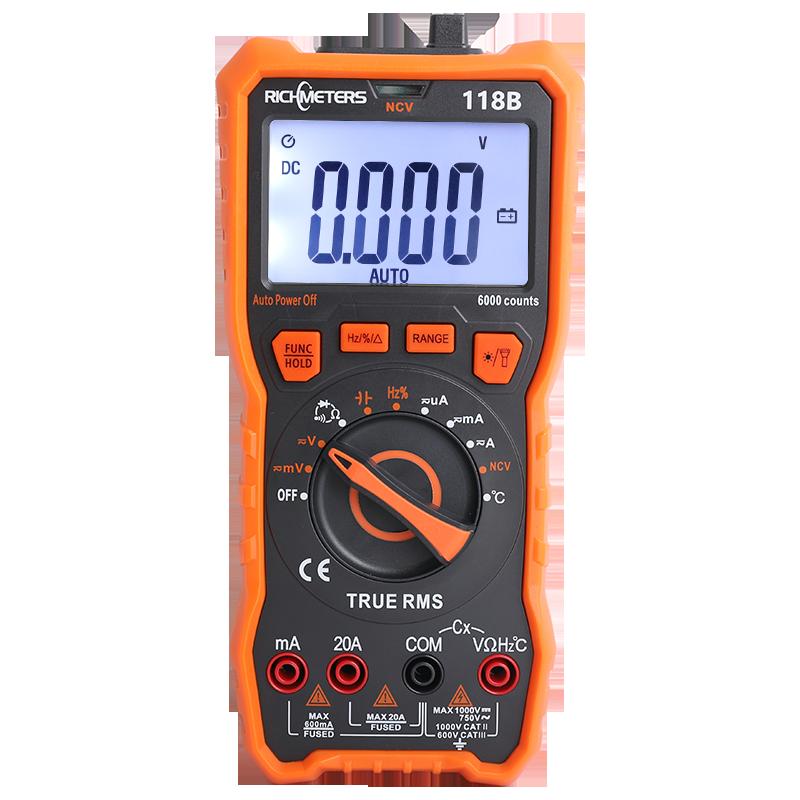 RM118B 20A Digital Multimeter Auto-Ranging 6000 Counts NCV True-RMS 100mF capacitance Magnet AC DC Voltage Current Temperature