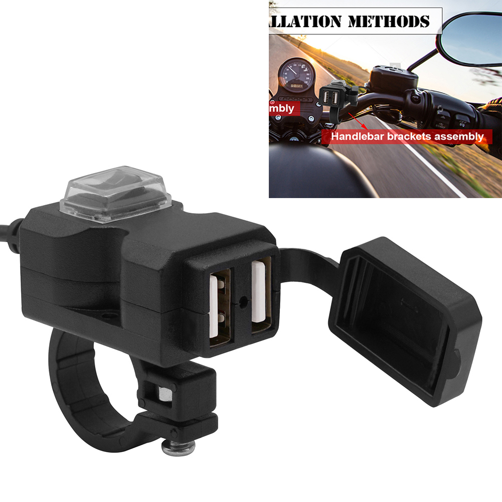 Universal QC3.0 Dual USB Port Motorbike Rearview Mirror Handlebar Charger Motorcycle 12V Adapter Power Supply Socket For Iphone