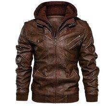 Jaqueta de couro masculina, jaqueta de couro do plutônio com capuz removível para motocicleta, com zíper oblíquo para casaco masculino tamanho grande