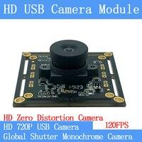 High Speed 120FPS 720P MJPEG USB Camera Module Non Distortion Global Shutter monochrome OTG UVC Linux CCTV Webcam