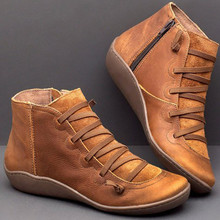 Boots Casual Women Tie-Side Lace-Up Side-Zipper Round-Toe Flat Retro
