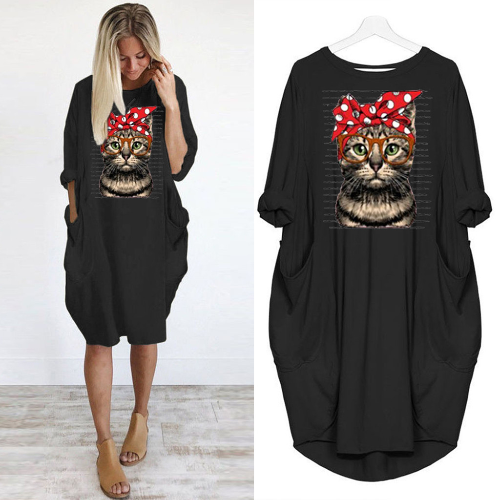 Fashion Cartoon Cat Women Oversized Dress Autumn Loose Casual Pullover Dresses Girls Long Sleeve Knee Length Print Vestido New