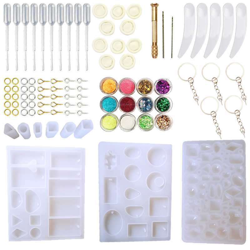 DIY Pendant Jewelry Casting Molds, Silicone Resin Jewelry Molds Set DIY Making Tool Crafting Pendant Earrings