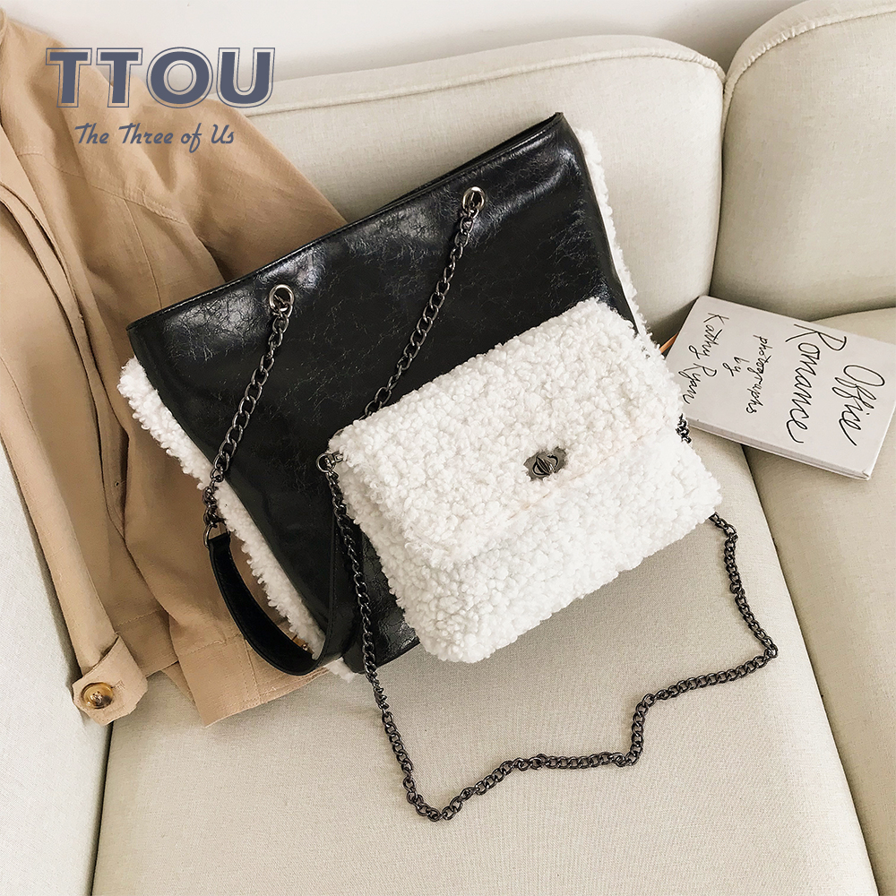 High Street Plush Women Shoulder Bags With Chain Fashion Can Be Separated Top Handbags Design Faux Fur Female Large Capacity Bag