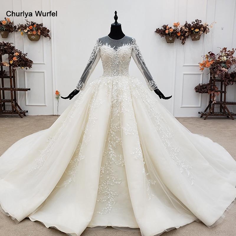 HTL1349G Blanco Simple vestido De novia De lujo con perlas veladas 2020 o-cuello vestido De bola imagen real Vestidos De novia
