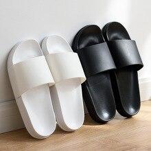 Summer Home Men Slippers Simple Black White Shoes Non-slip Bathroom Slides Flip Flops Couples Indoor Women Platform Slippers