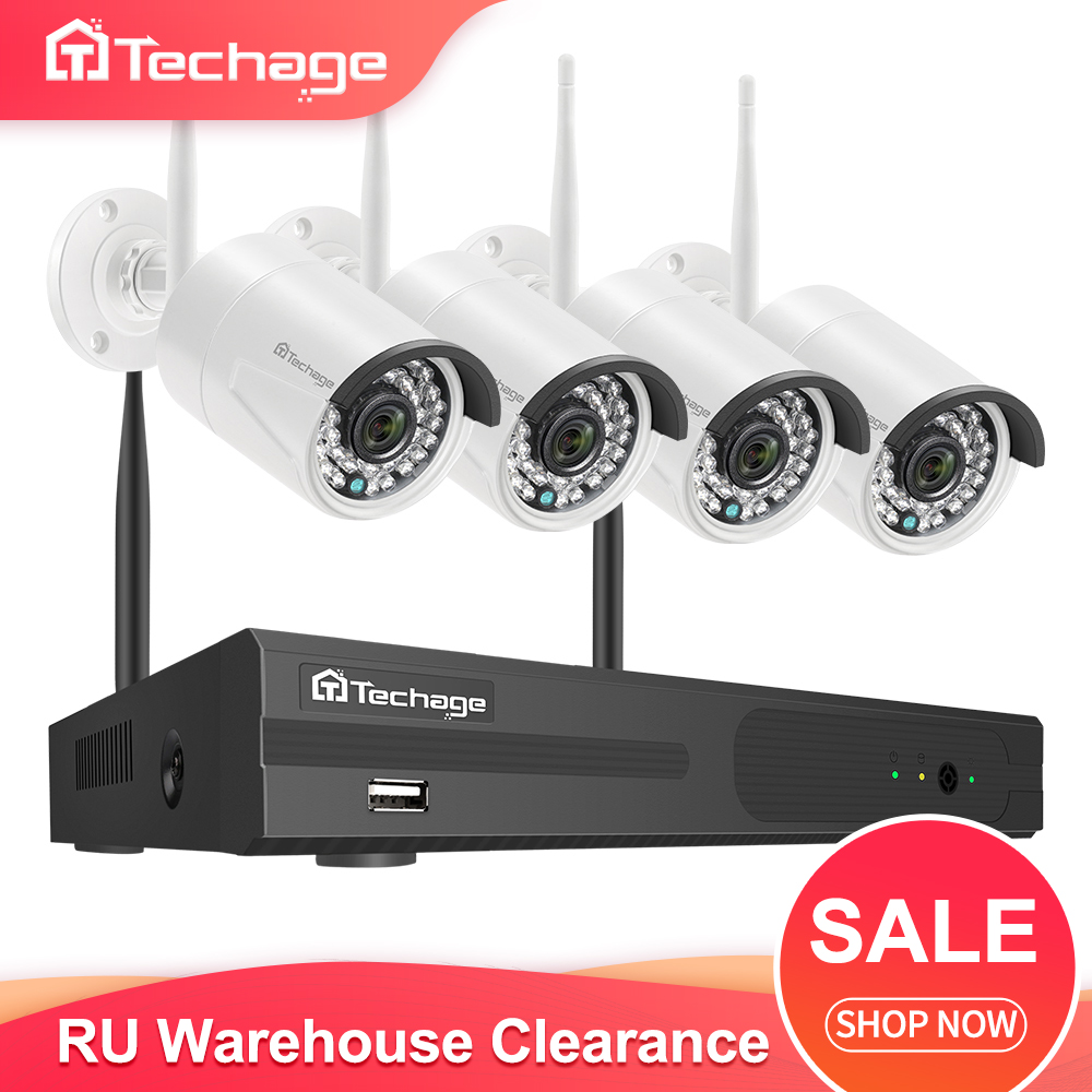 Techage H.265 4CH 1080P Wireless NVR CCTV Camera System 2MP HD Audio WiFi IP Camera IR Outdoor Video Security Surveillance Kit