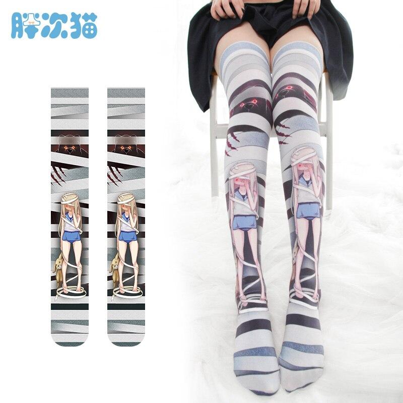 Sweet Japanese Lolita Dark Punk Cartoon Doll Printed Stockings Girls Velvet Young Girl Kawaii Overknee Cosplay Stockings Cosplay