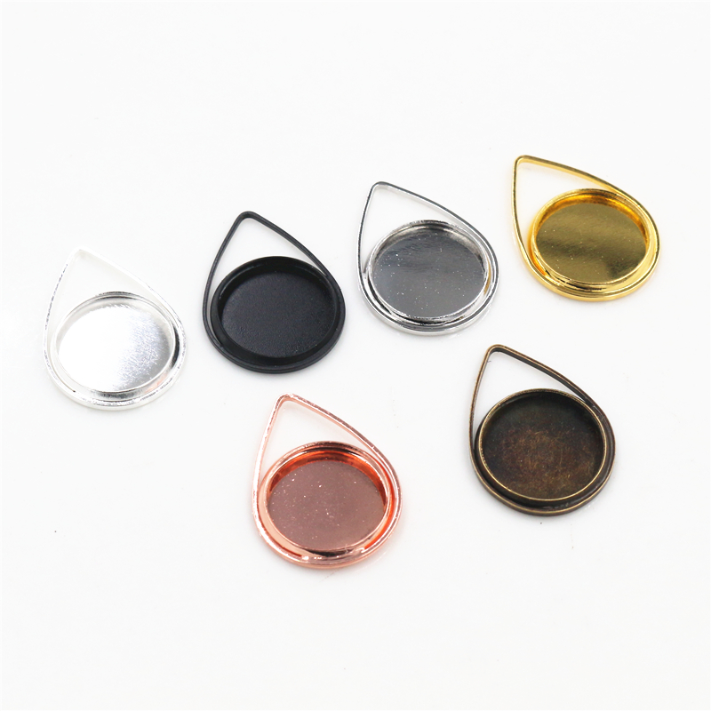 20pcs 12mm Inner Size 6 Colors Plated Brass Material Simple Drop Style Cabochon Base Cameo Setting Charms Pendant Tray