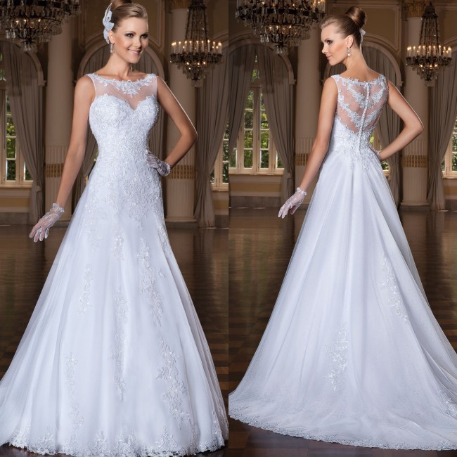 Custom Made Vestido De Noiva 2018 A-Line See Through Back Vestido Noiva Bridal Gown Vestidos De Gala Mother Of The Bride Dresses