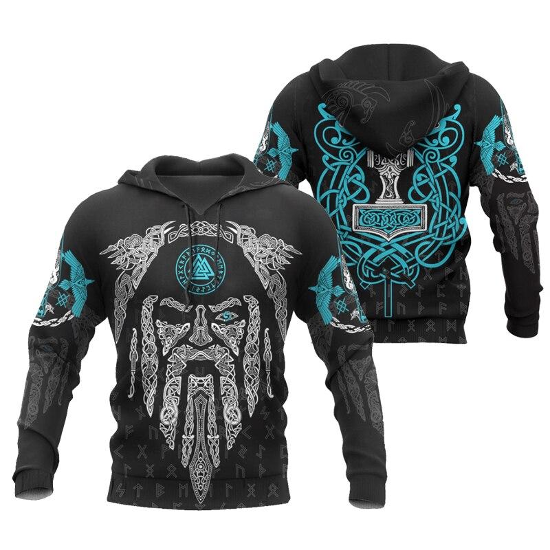 PLstar Cosmos crazy pattern warrior Viking Tattoo 3D Printed Men hoodies Harajuku Hooded Sweatshirt Autumn Fashion hoodie top-13