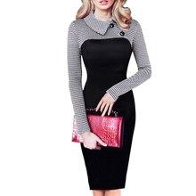 Винтажное женское платье с длинным рукавом, лоскутное, офисное, клетчатое, с рисунком размера плюс, облегающее платье, карандаш, элегантная женская одежда B238