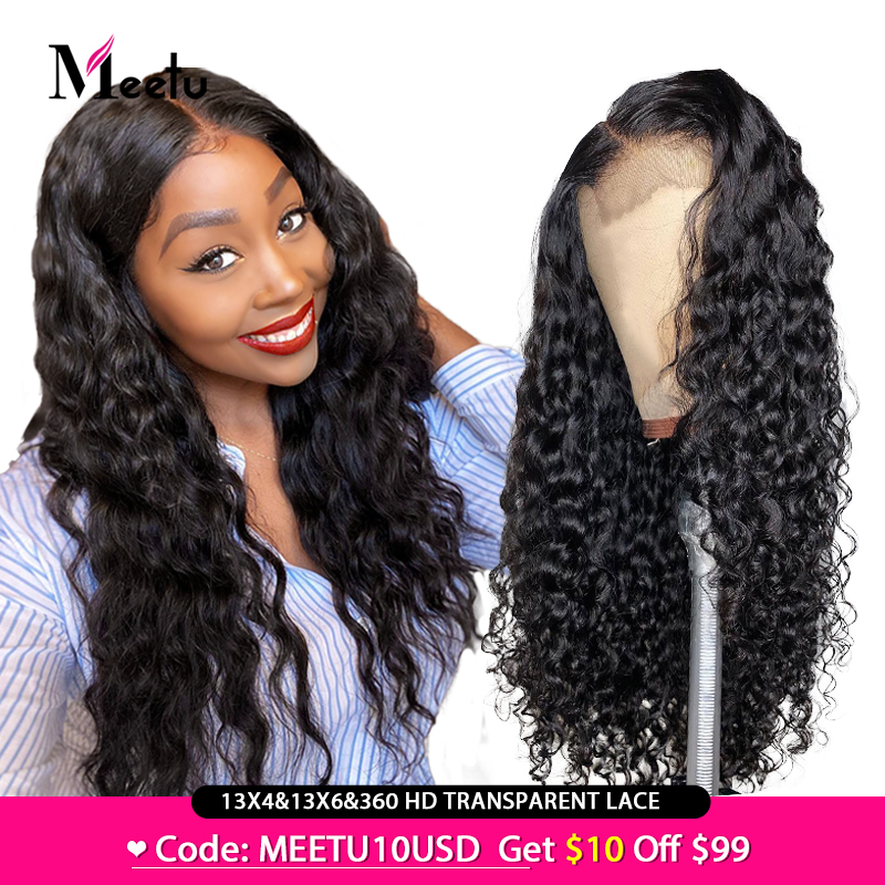 Meetu Water Wave Wig Transparent Lace Wigs 13X4 13X6 Water Wave Lace Front Human Hair Wigs Brazilian Remy Hair Wigs Pre Plucked
