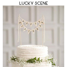 Rustic Birthday Cake Topper Mini Stylish Letter Birthday Cake Top Flag Triangular Banner Wave Cupcake Dessert S01099