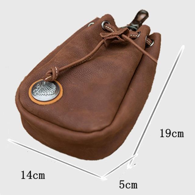 Vintage en cuir véritable taille souple sac peau de vache taille ceinture Pack porte-monnaie argent poche porte-carte cordon de rangement portefeuille
