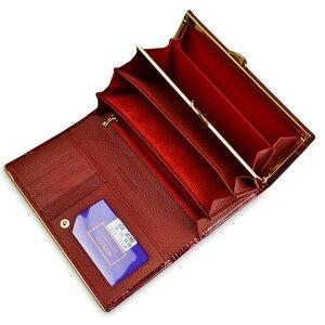 Image 3 - Beth Cat Women Genuine Leather Wallet Female Hasp Alligator Cowhide Long Wallet Cards Holder Clutch Bag Fashion Ladies Purses