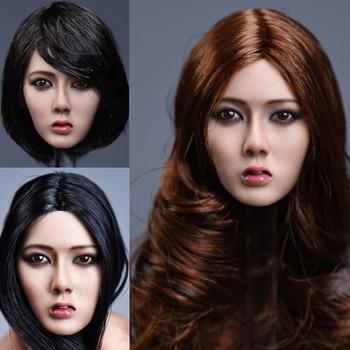 "1/6 Scale Asia Female Figure Accessory Short Black Hair Head Sculpt Long hair Xiu Girl Head Model for 12""  Suntan Color Body"
