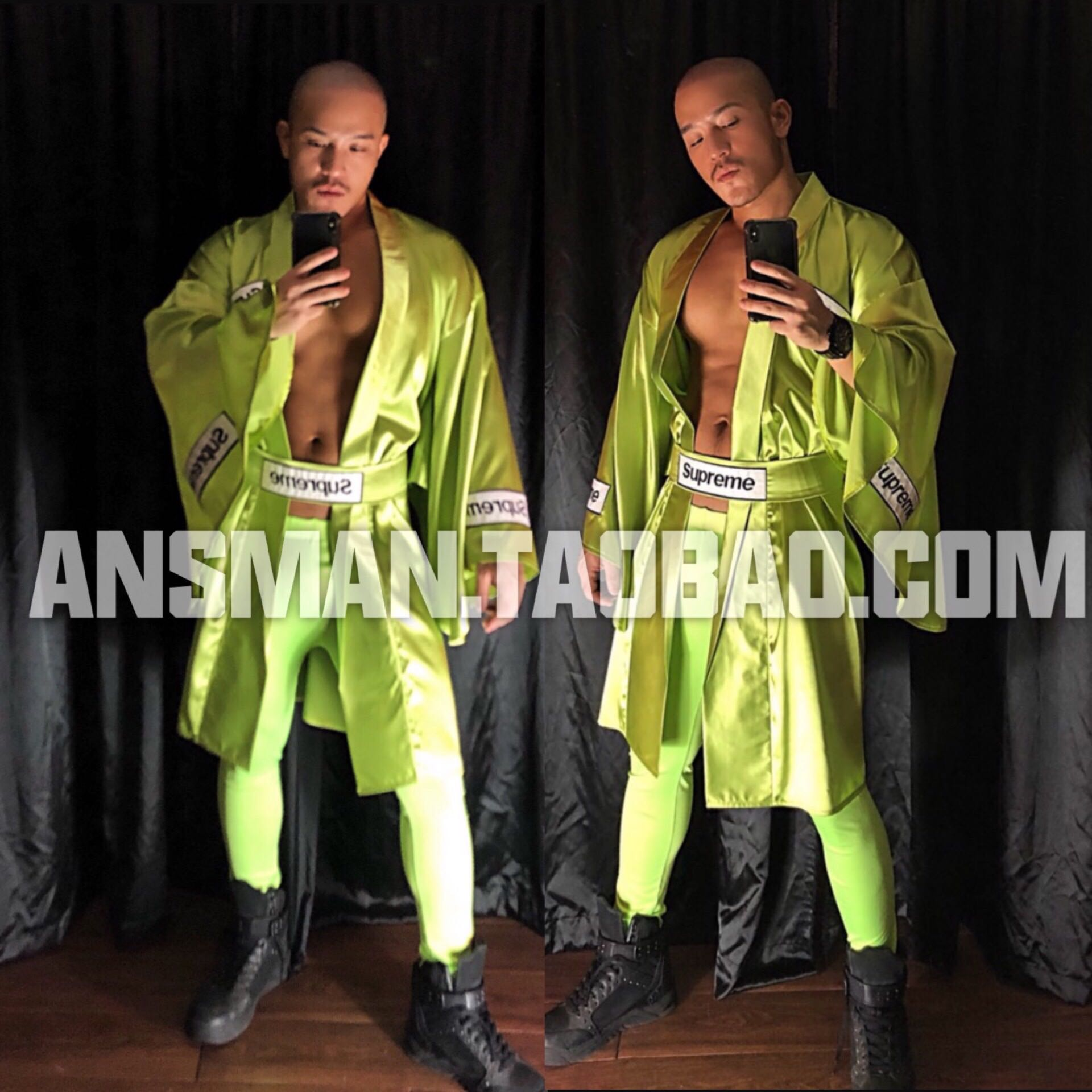 Men Clothing Set Bar Muscle Men GOGO Costume Blue Fluorescent Green Belt Robe Kimono Party Sexy Show Catwalk Stage Performance