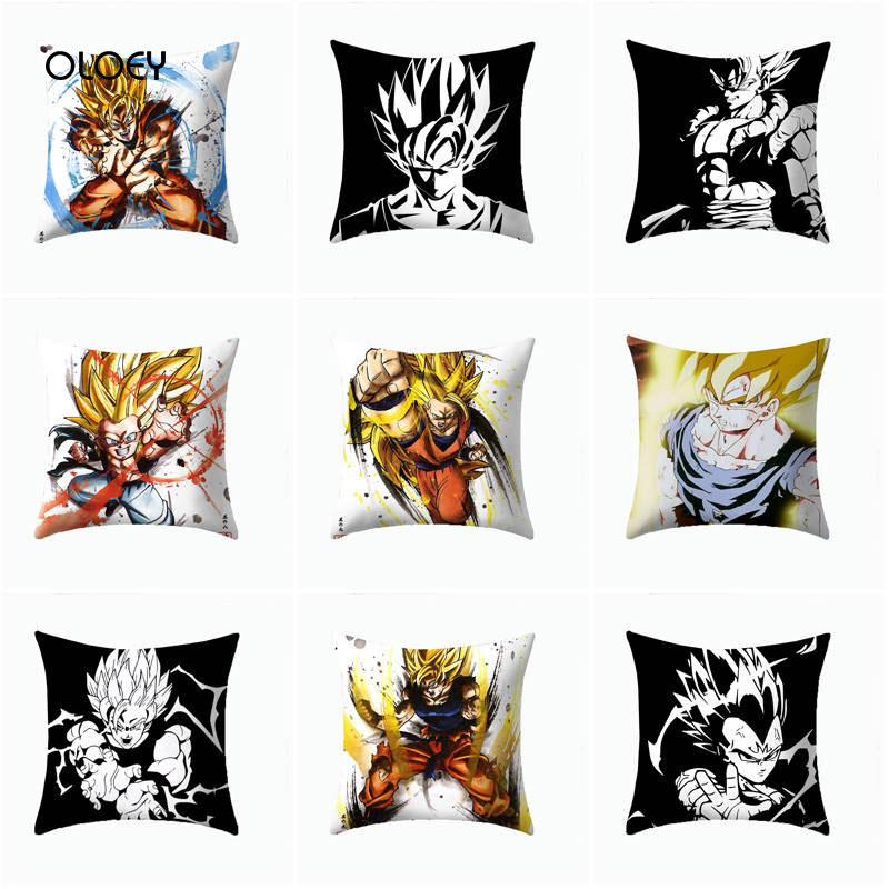 Super Hero Printed Polyester Square Pillow Case Goku Dragon Ball Pillow Case Home Bedroom Hotel Decorative Pillow Case 45x45cm .