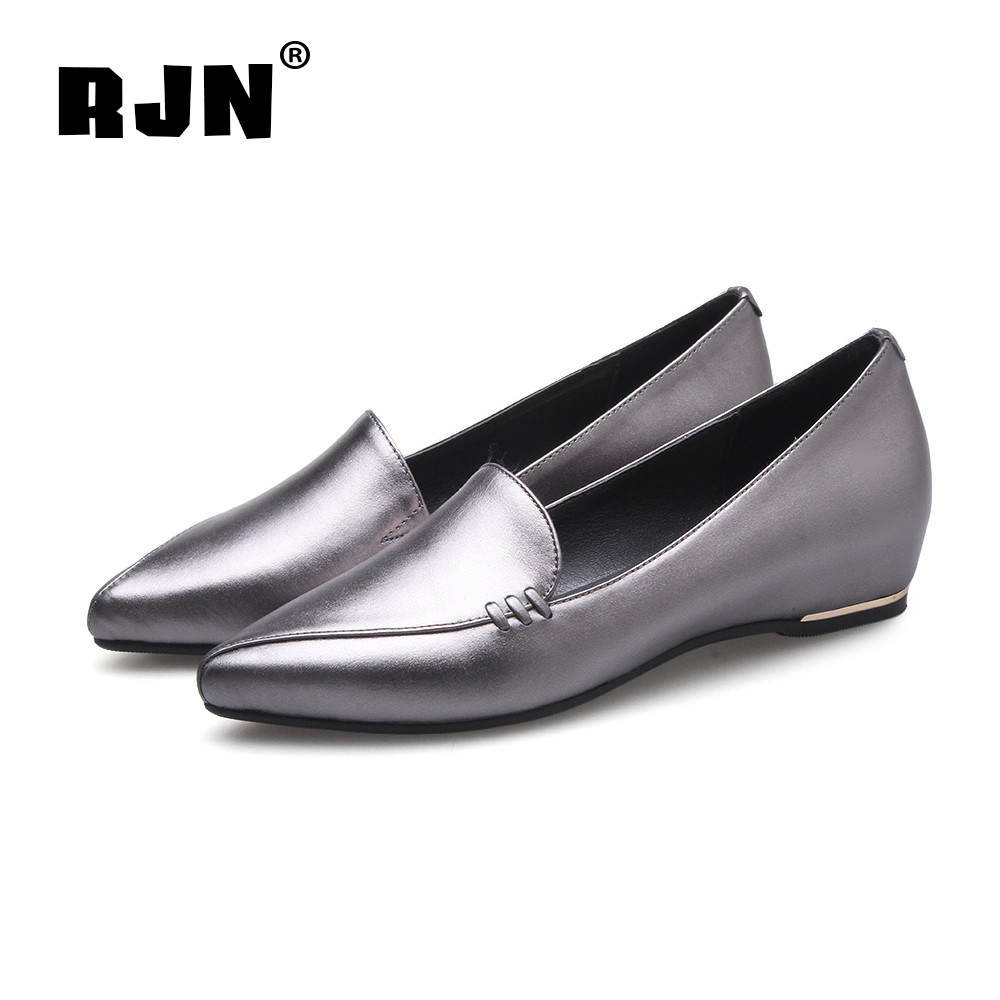 New RJN Fashion Gun Color Flats Unique Patchwork Design Border Heel Sexy Pointed Toe Slip-On Shoes Cow Leather Women Loafers RO47