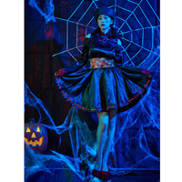 JIEZuoFang Halloween women embroidered dress zombie official uniform to send vamp cosplay vampire retro dress printing
