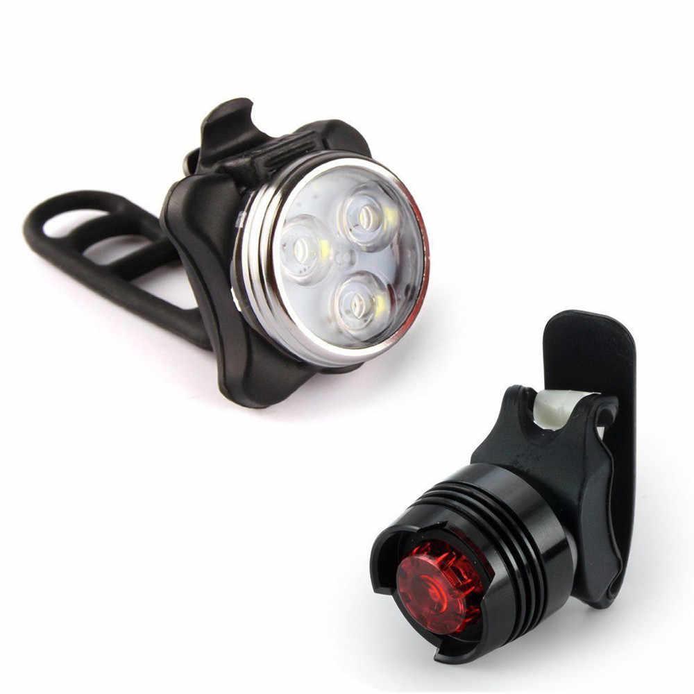 Перезаряжаемый светодиодный фонарь для велосипеда Комплект переднего света задний фонарь usb-фонарь для велосипеда аксессуары оптом Z0729
