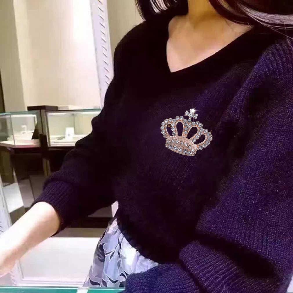 Hot! Uroczy Imperial Crown kształt kobieta szpilki ślubne kryształ korona koszula kołnierz broszka