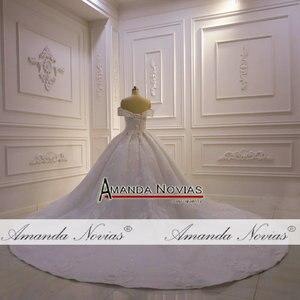 Image 4 - את כתף רצועות מלא תחרה ואגלי חתונת שמלת 2020 אמנדה novias