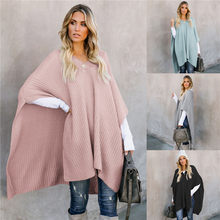 Womens Cape Winter 2019 Plus Size Slim Cape Jas Poncho V-hals Mantel Lange Gebreide Jas Koreaanse Wollen Trui Warm luxe Grey Coat(China)